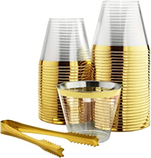 100 Gold Rimmed Plastic Cups and 1 Gold Ice Tong Set - 9 Ounce Disposable Cocktail Glasses - Fancy Wine Tumblers for Weddings, Birthdays, Engagements, and Bridal Showers - Elegant Party Supplies