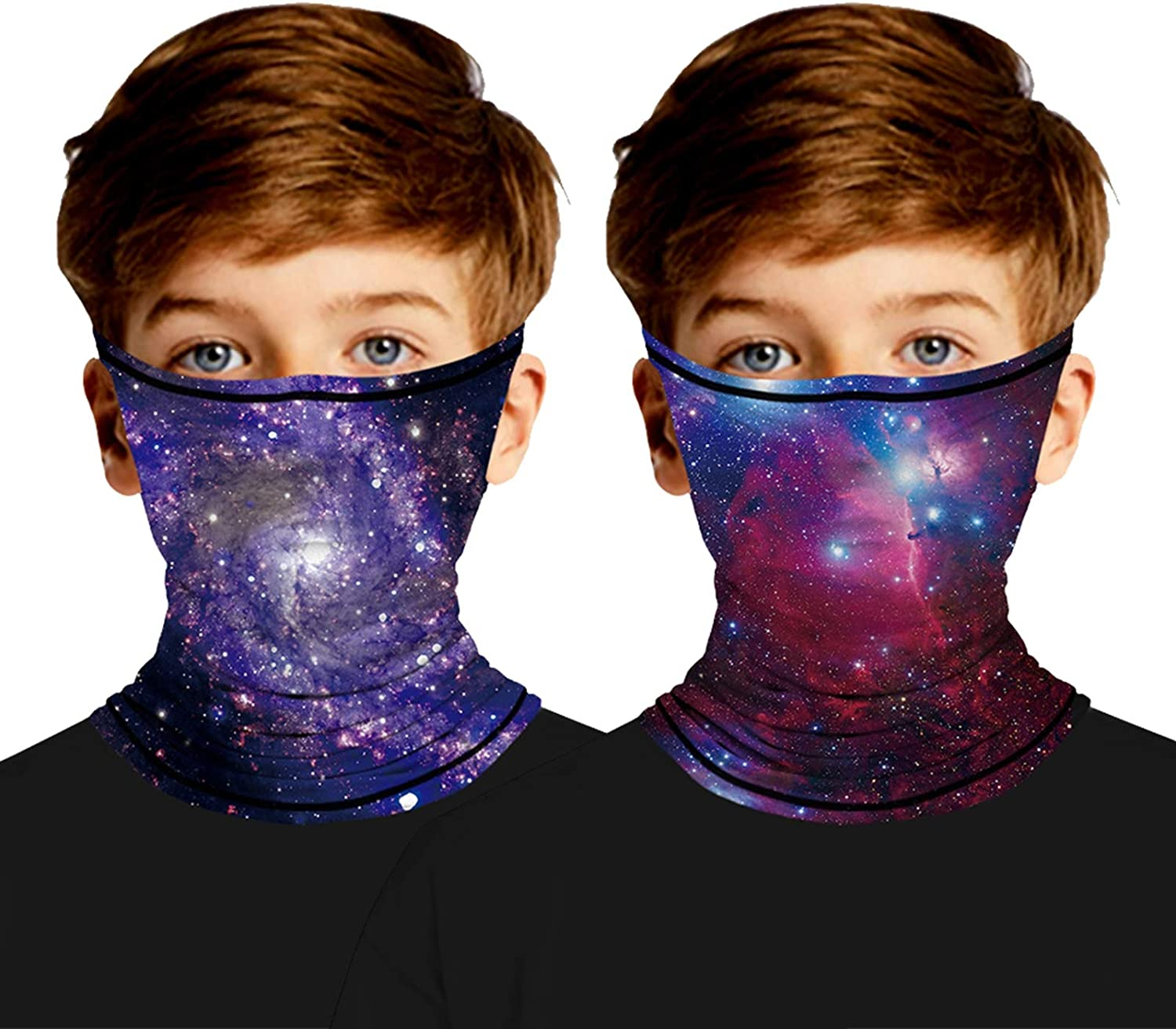 2Pcs Kids Cooling Neck Gaiters with Ear Loops, Face Cover for Boys Girls Outdoor - Scarf Bandana Dust Wind Balaclava Headwear