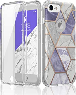 HUATRK iPhone 6 Case iPhone 6s Case iPhone 7 Case iPhone 8 Case Built-in Screen Protector Purple Marble Dual Layer Shockproof Protective Protection Cover Clear