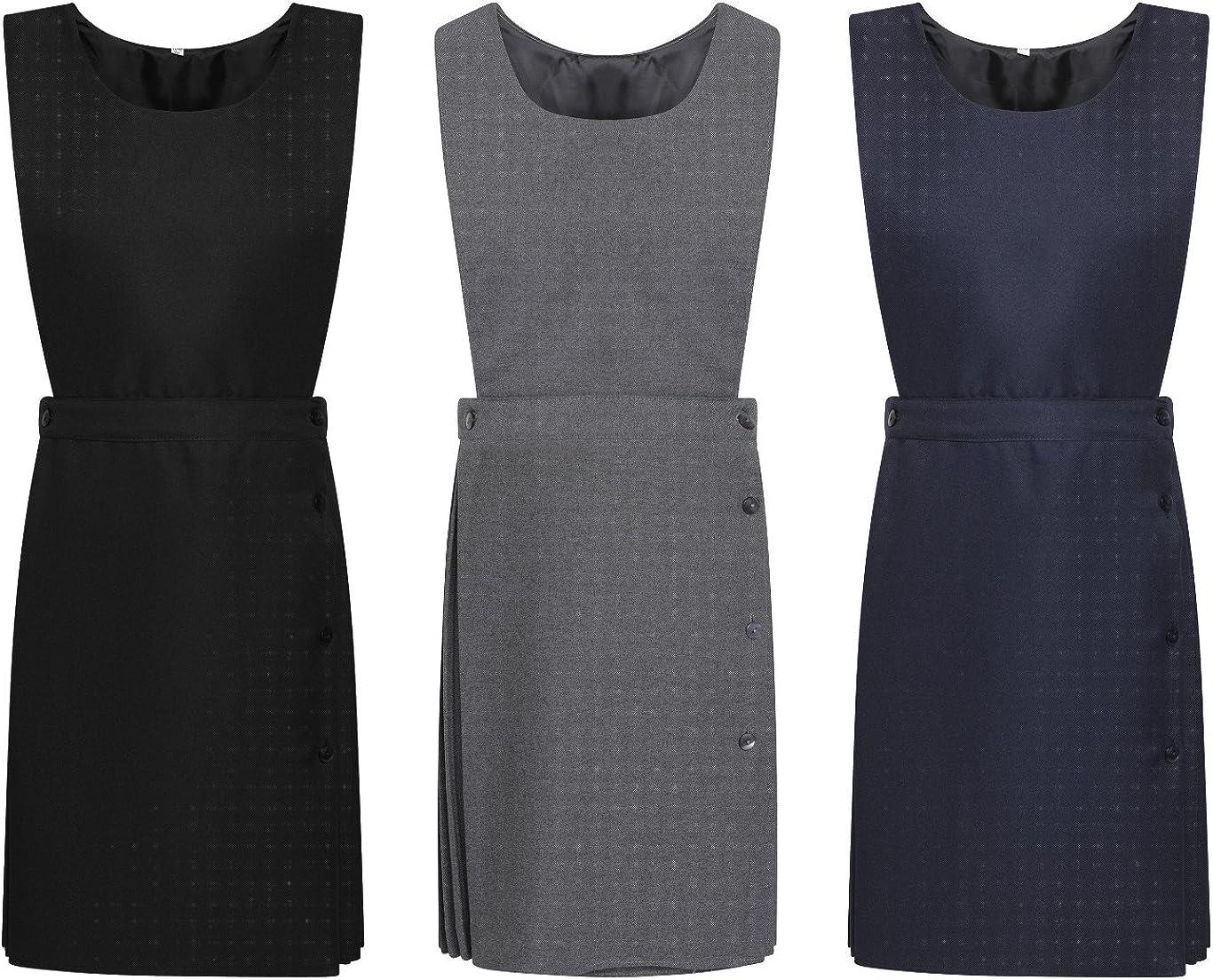 Pleated Bib Pinafore Dress Ages 2-16 Girls School Uniform Grey Navy Black Maroon