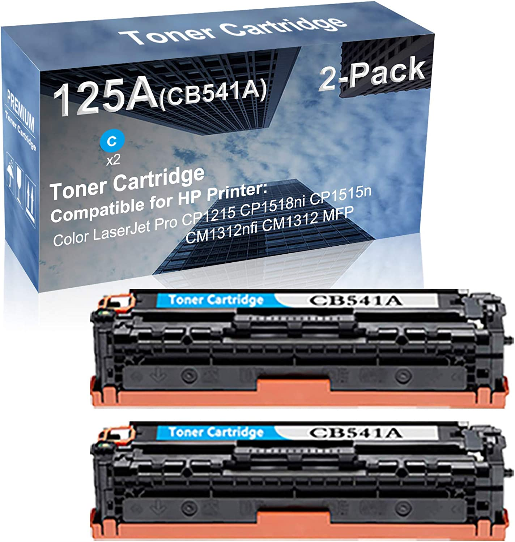 2-Pack (Cyan) Compatible High Capacity 125A (CB541A) Toner Cartridge use for HP CP1215 CP1518ni Printer