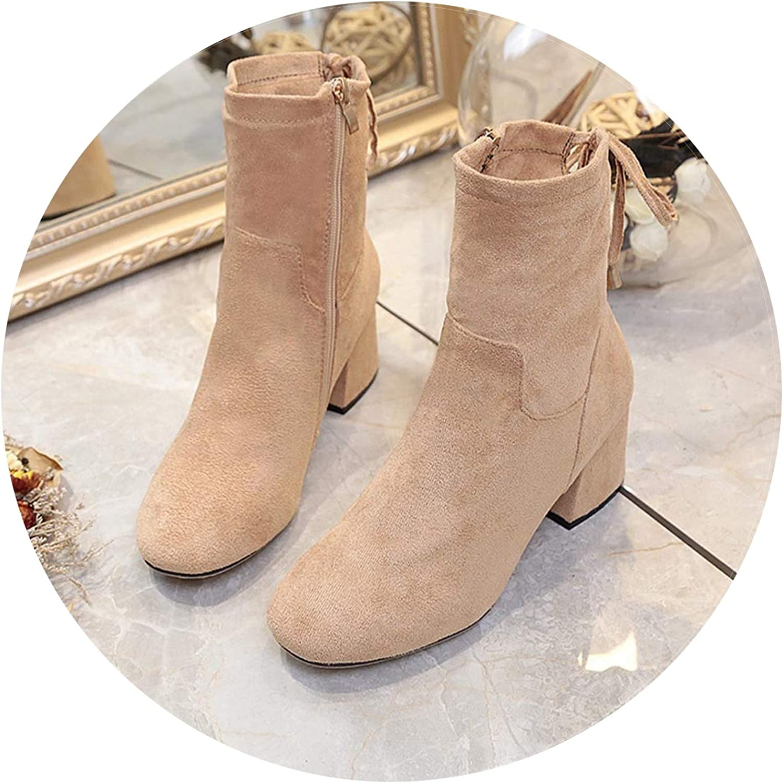 Martin s Single Thick with Short High Heeled Winter Boots Women Botas women  20180924,Khaki,37,C