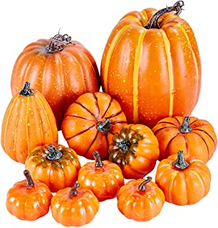 Artmag Package of 12 Pcs Assorted Sizes Artificial Fake Orange Pumpkins Large Faux Harvest Pumpkins for Fall Thanksgiving ...