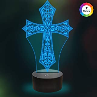 Kids 3D Night Light Cross Optical Illusion Lamp with 7 Colors Changing Birthday Xmas Valentine's Day Gift Idea for Sport Fan Boys Girls