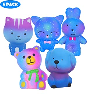 Vigeiya 5 Pack Squishies Animals Slow Rising Cat Dog Rabbit Bear Prime Kawaii Squishy Toys