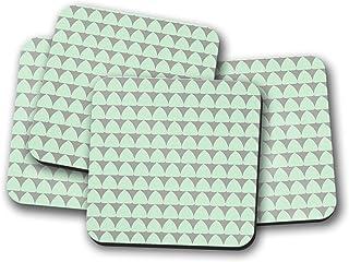 Posavasos grises con diseño geométrico verde menta, posavasos individuales o juego de 4