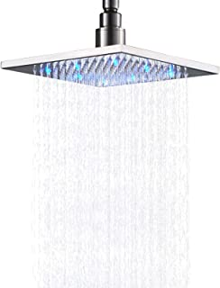 Senlesen Brushed Nickel Bathroom LED Light 8-inch Rainfall Shower Head Square Overhead Sprayer