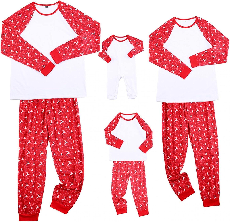 Matching Family Christmas Pajamas Set Elk Print Blouse Tops And Pants Xmas Family Nightwear Loungewear Sleepwear