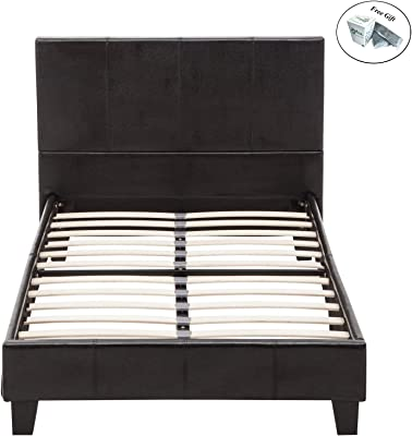 Eight24hours Full Faux Leather Platform Bed Frame & Slats Upholstered Headboard Only