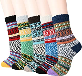 Winter Women Socks Warm Thick Soft Wool Socks 5 Pairs Gift Socks for Women Cozy Crew Socks Women Socks 5 Packs
