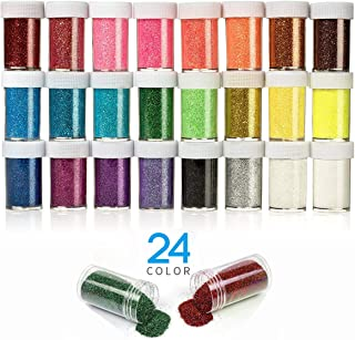 24 Pack Glitter Shake Jars, Fine Extra Glitter Powder for Slim for Arts and Crafts, Nail, Scrapbook, Holiday, Party, Multi Color Assorted Set.