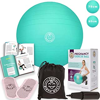 The Birth Ball - Birthing Ball for Pregnancy - Labor Ball + 18pg Pregnancy Ball Exercises Guide by Trimester How to Dilate, How to Reposition Baby & More 2000lb Stress Limit