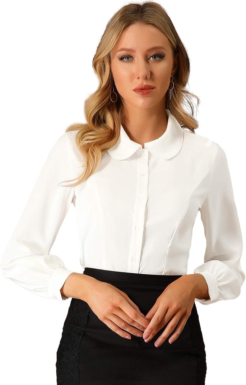 Allegra K Women's Button Up Shirt Career Peter Pan Collar Long Bishop Sleeve Blouse