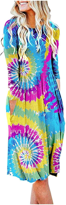 Women's Casual Dresses Tunic Dress Crew Neck T-Shirt Dress Boho Swing Dress Vintage Dresses Midi Dress with Pockets