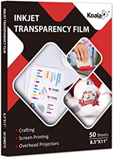 Koala Inkjet Transparency Film 50 Sheets 100% Clear Transparency Paper for Inkjet Printers, for Crafting, Overhead Project...