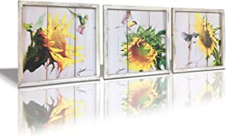 Sunflower Painting Canvas Wall Art – Canvas Prints Hummingbird Pictures Oil Painting, Flower Artwork Wooden Framed 14 x 14 inch x 3 pcs