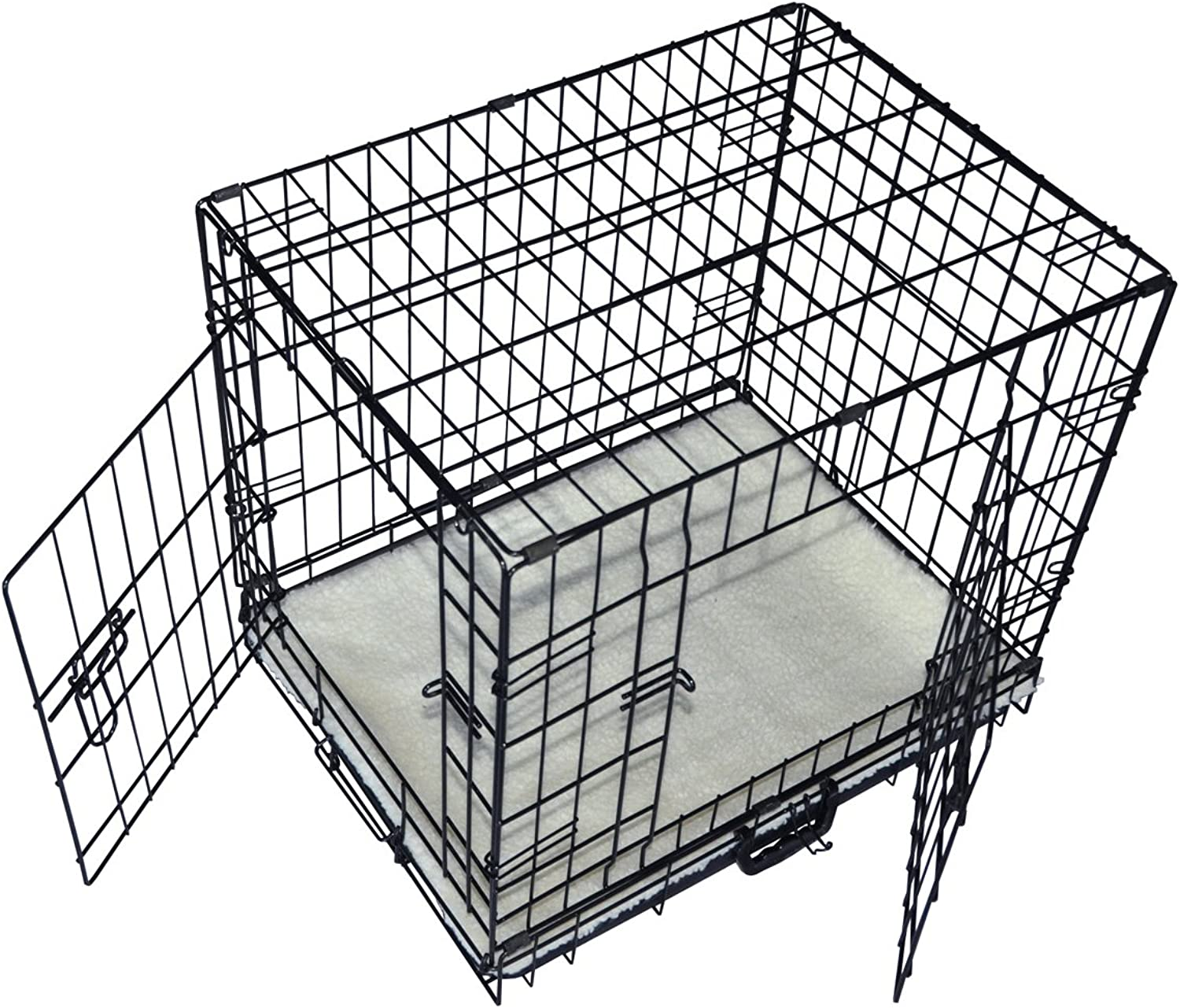 Cool Runners Tall Boy Small Foldable Wire Pet Crate   Kennel 22  x 13  x 16  With Bonus Faux Sheepskin Mattress