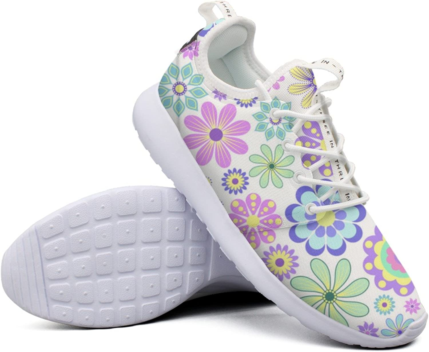 Women Pastel Flower On White Background colorful Neutral Cool Casual Running shoes