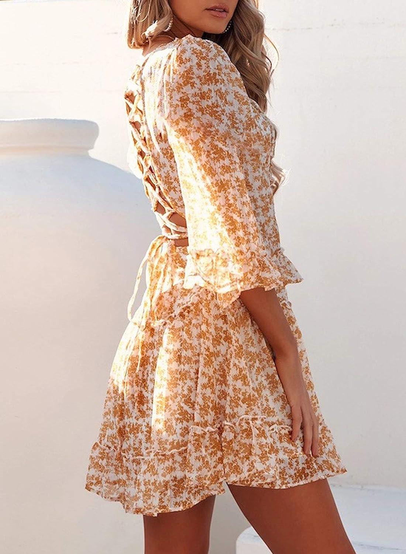 Dokotoo Womens Summer Casual Ruffle Short Sleeve Elegant Flowy Mini Short Skater Dresses