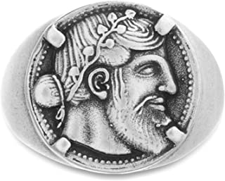 Oxidized Stainless Steel Hercules Greek Coin Design Ring...