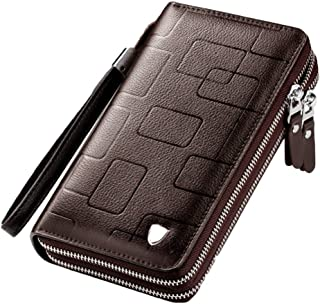 Men's long clutch, multifunctional genuine leather casual business wallet card holder, double zipper coin purse mobile pho...