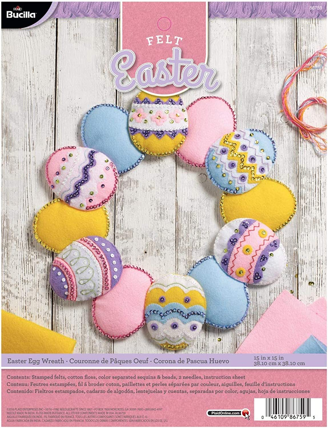 Bucilla Felt Applique Wreath Kit, 86759, Pink, Yellow, White, bluee, Purple, 15x15