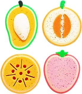 Andiker 4 Éponges à Vaisselle Lavable, Éponge Épais pour Cuisine sous forme de fruit, Torchon à Multiples Usages, Léger, É...