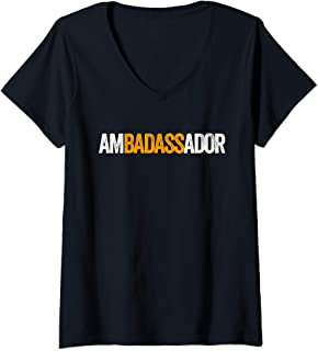 Womens Ambadassador Subtle Ambassador Warehouse Associate Swagazon V-Neck T-Shirt