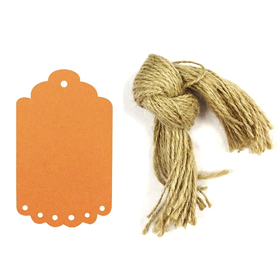 Wrapables 50 Gift Tags/Kraft Hang Tags with Free Cut Strings for Gifts, Crafts & Price Tags, Small Scalloped Edge (Orange)