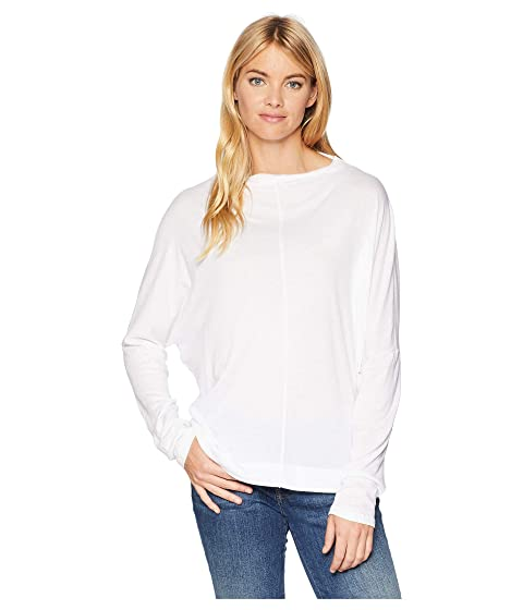 Michael Stars  ULTRA JERSEY LONG SLEEVE OPEN NECK DOLMAN, WHITE
