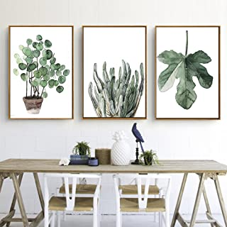 Green Plant Series Canvas Print, Wall Art, Poster, Airbnb Home Decor. Sofa / Cafe / Office / Hotel Painting, Housewarming Gift. 3pcs. Unframed. (50 x 70 cm / 19.7 x 27.6 in)