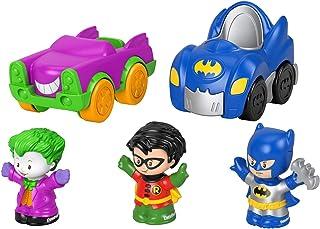 Juego de regalo Fisher-Price Little People DC Super Friends Crime Fighting para vehículos de juguete y figura de Batman Set de regalo para niños pequeños y niños preescolares de 1 a 5 años