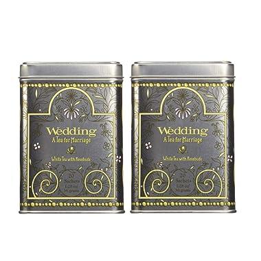 Harney & Son's Wedding Tea Tin 20 Sachets (1.28 oz ea, Two Pack) - White Tea Blend with Lemon and Vanilla with Rose Petals - 2 Pack 20ct Sachet Tins (40 Sachets)