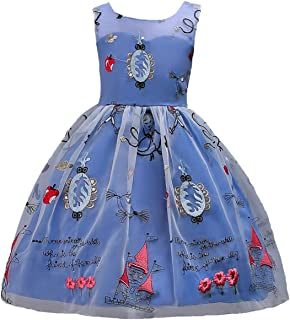 Happy Cherry - Vestido de Princesa sin Mangas de Cuello Redondo para Dario Fiesta Boda Bautizo Impresión 3-11 años - Rosa Blanco Azul Rojo