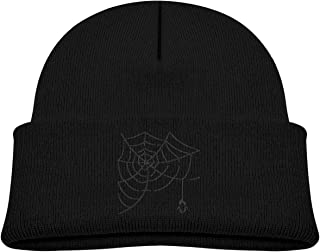 Daibing Kids Knitted Beanies Hat Halloween Spider Web Winter Hat Knitted Skull Cap