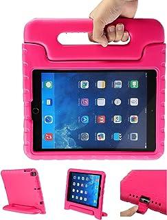 LEADSTAR Funda iPad 9.7 2017 2018 Tableta Caso de Los Niños a Prueba de Golpes Luz Peso Mango Soporte Protección Cubierta para Apple iPad Air, iPad Air 2, iPad 9,7 2017 2018, Rosa Rojo