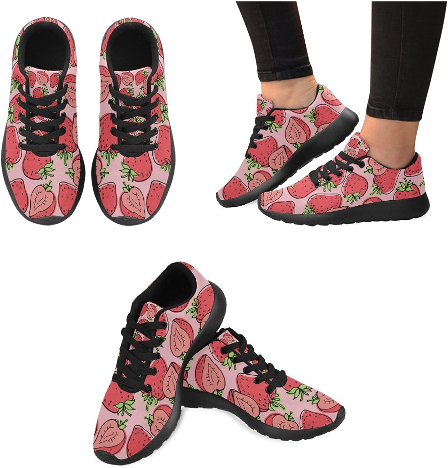 InterestPrint Cute Strawberries Pattern Print on Women's Running shoes Casual Lightweight Athletic Sneakers US Size 6-15 Black