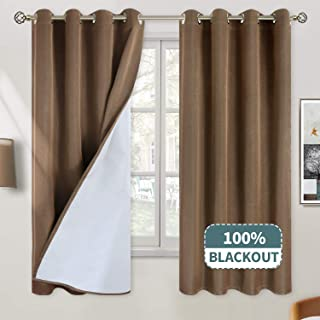 BGment 100% Blackout Curtains for Bedroom, Grommet Jacquard Thermal Insulated Total Room Darkening Curtains for Living Room with Bonded Lining, 2 Panels (Each 52 x 63 Inch, Brown)