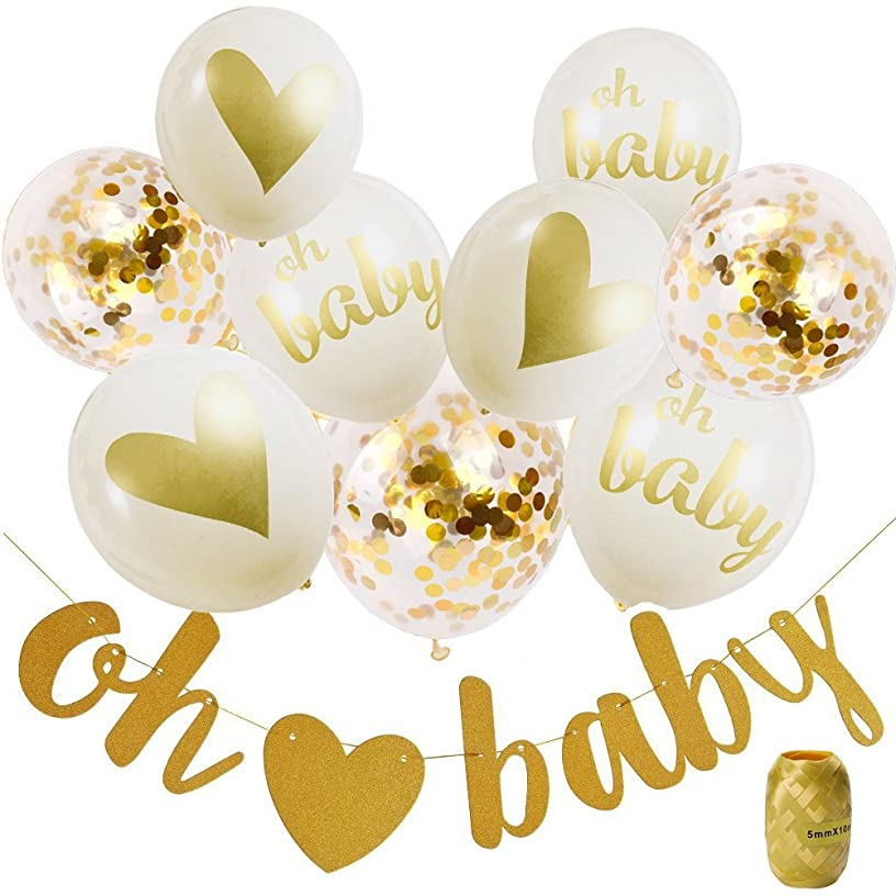 Baby Shower Decorations Neutral Decor Strung Banner (OH BABY) & 9PC Balloons w/ Ribbon [Gold, Confetti, White] Kit Set | Hang on Wall | Glitter Unisex Pregnancy Announcement Gender Reveal Party