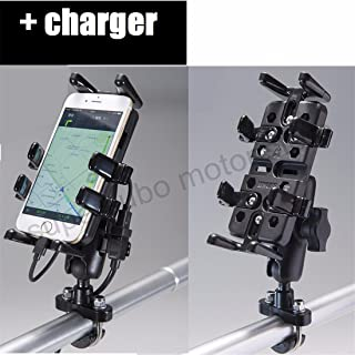 Motorcycle Phone Holder with charger 5.5-inch Screen Mobile Phone, GPS, Intercom Motorcycle Bracket Metal