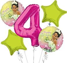 Tiana Balloon Bouquet 4th Birthday 5 pcs - Party Supplies