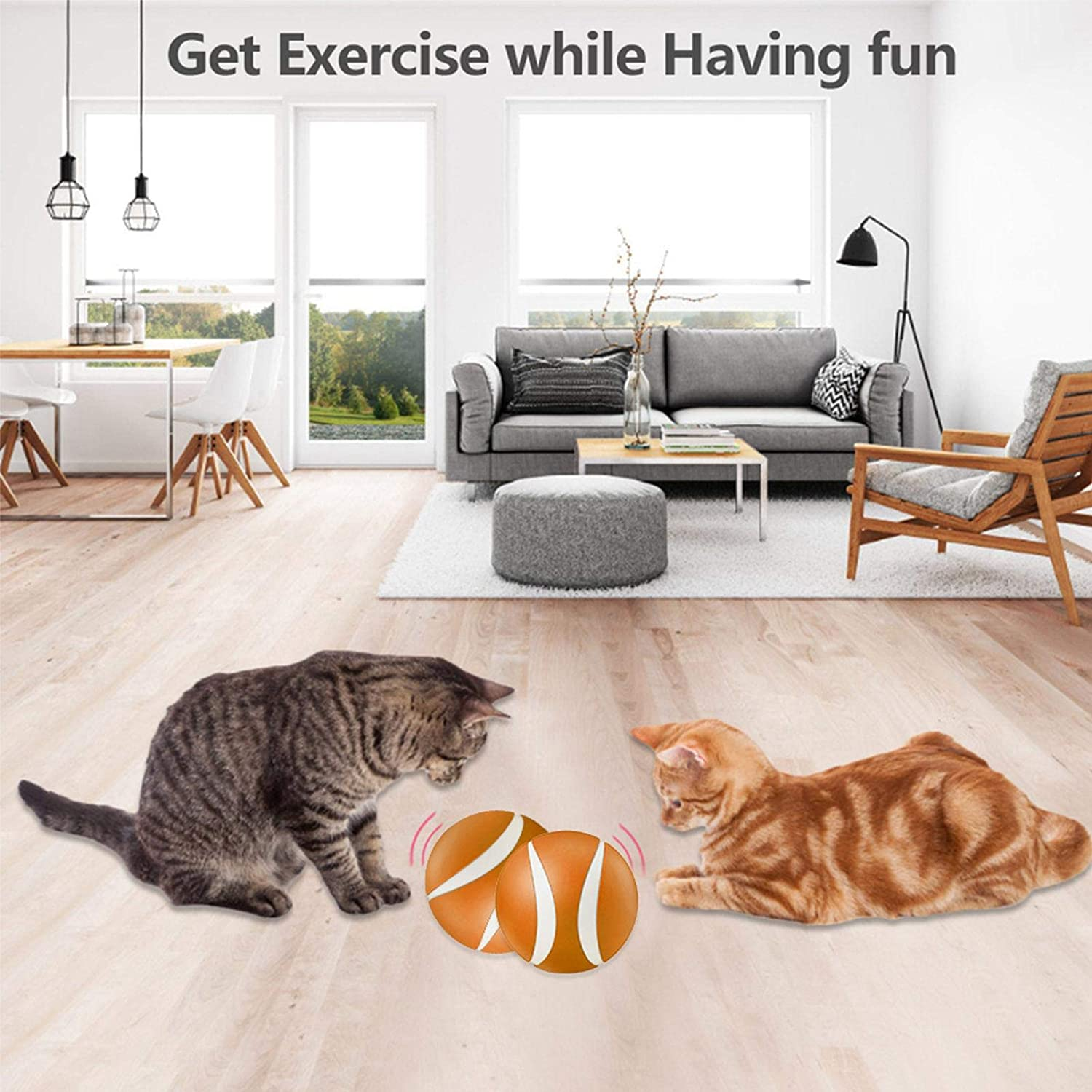 su-xuri Interactive Cat Toys Balls With Remote Control Self-Rotating /& USB Rechargeable LED Electric Flashing Ball For Cats Dogs Kitten Funny Chaser Roller