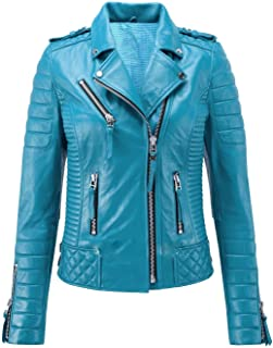 Womens Leather Jackets Motorcycle Bomber Biker Real Leather Jacket Women