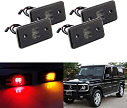 iJDMTOY Smoked Lens Amber/Red Full LED Side Marker Light Kit For 2002-14 Mercedes W463 G-Class G500 G550 G55 G63 AMG, Replace Front/Back OEM Sidemarker Lamps