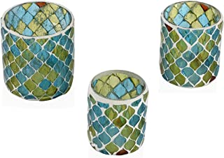 Shop LC Delivering Joy Set of 3 Blue and Green Mosaic Moroccan Pattern Tea Light Candle Holder