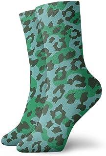 Estampado de leopardo verde Calcetines casuales transpirables Calcetines deportivos de viaje Yoga Caminar Ciclismo Correr Fútbol 30cm