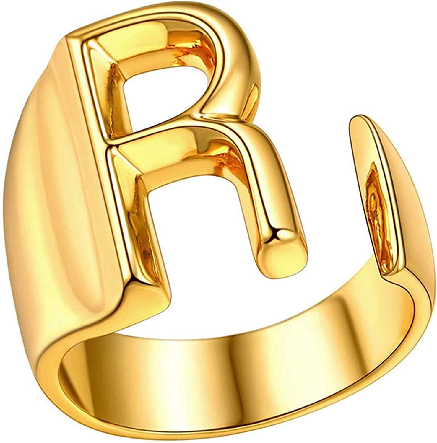 Initial Ring,Letter Rings for Women,Gold Plated Adjustable Open Ring Bold Statement Alphabet Rings Letter A to Z Chic Jewelry