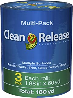 Duck Clean Release Blue Painter's Tape 2-Inch (1.88-Inch x 60-Yard), 3 Rolls, 180 Total Yards, 240461