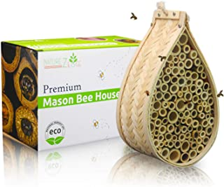 NatureZ Edge Mason Bee House | Natural Bamboo Mason Bee hive | Supercharge Your Garden by Attracting The Perfect Non-Aggressive Pollinator Bees | Bee Hotel