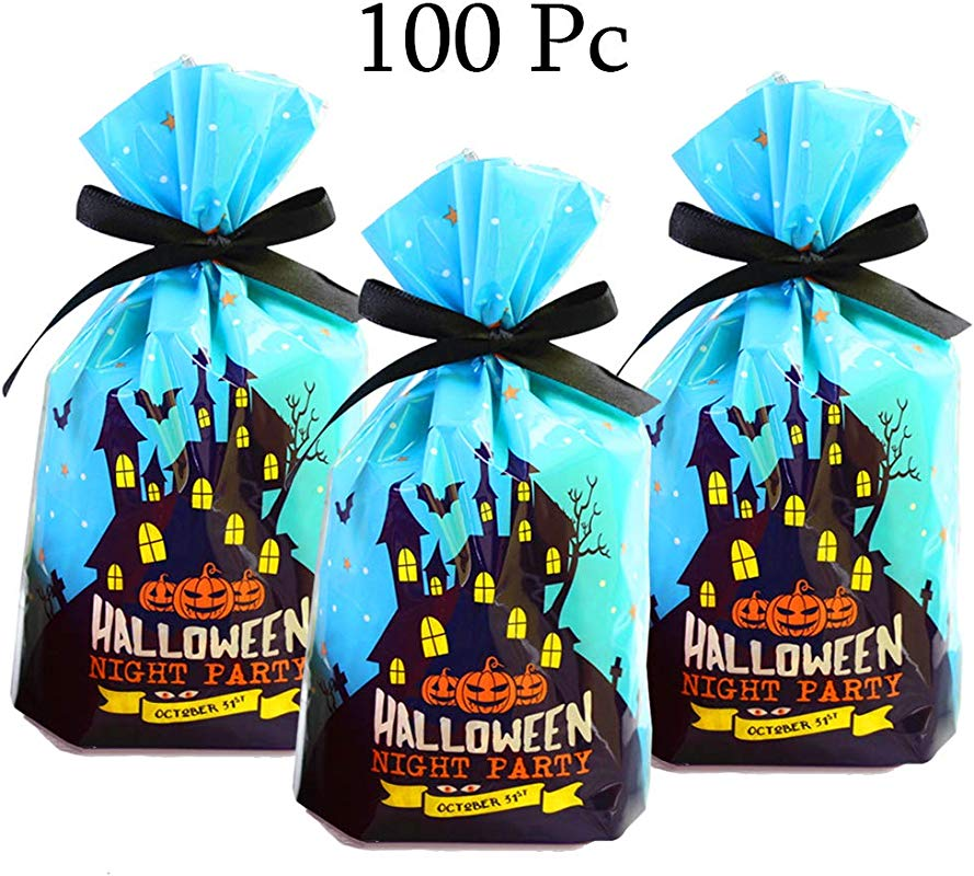 Halloween Candy Goodie Bags For Treat Candy Cookie 100 Pack Halloween Favor Bags